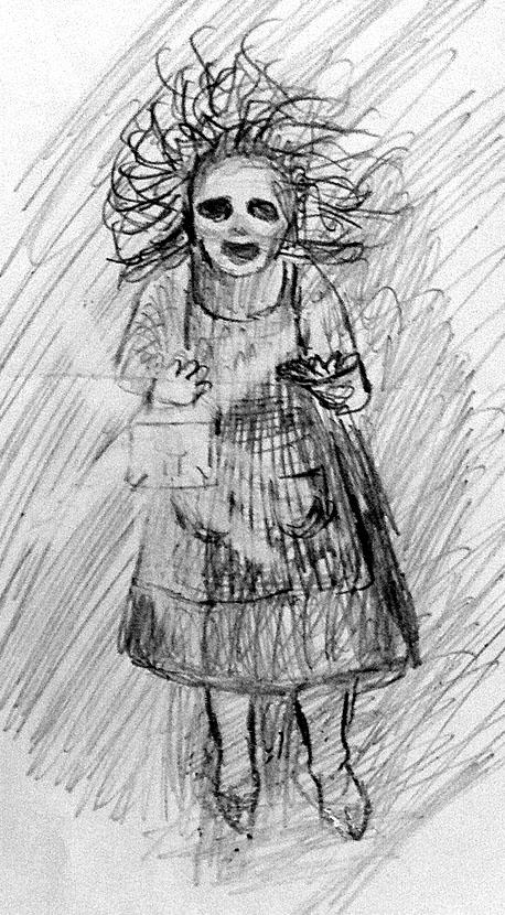 Ilustración de una anciana terrorífica